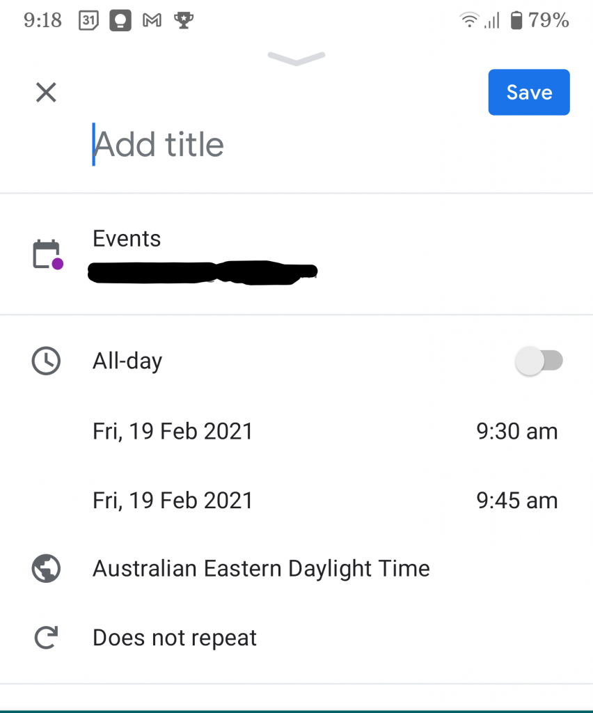 Screenshot showing a meeting that was created on a mobile and will sync to Google Calendar on the PC