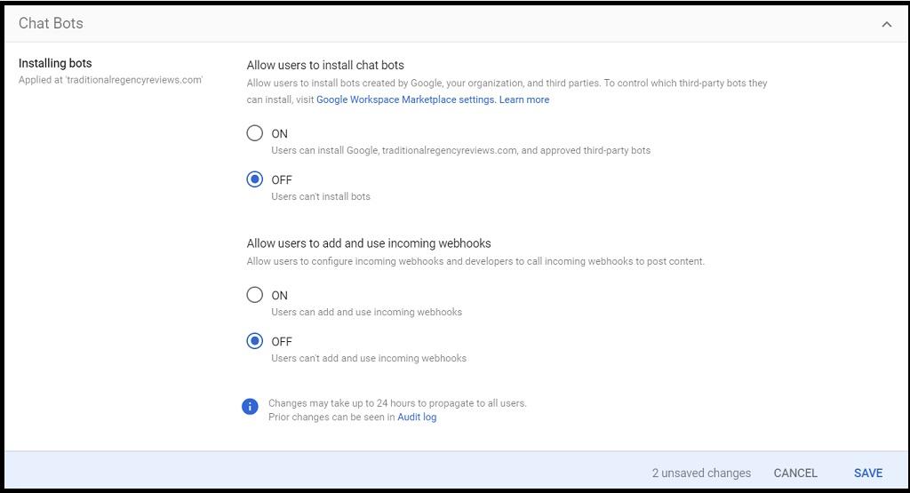 Screenshot of Google Chat Bot settings