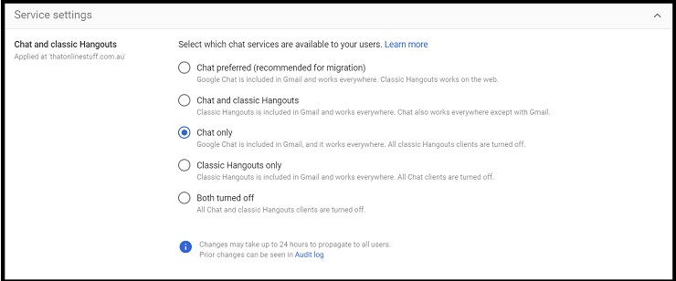 Screenshot of Google Chat service settings in Google Workspace Admin console with Chat only selected