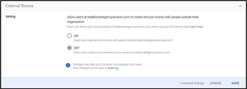 screenshot of Google Chat External Room settings