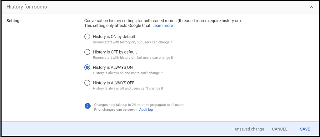 screenshot of Google Chat history settings for rooms