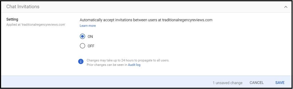 screenshot of Google Chat invitations settings